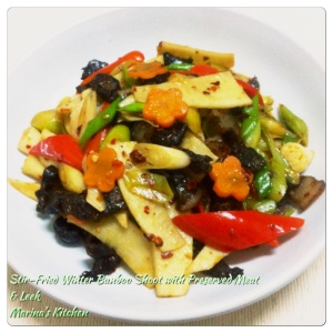 Stir-Fried Winter Bamboo Shoot with Preserved Meat & Leek