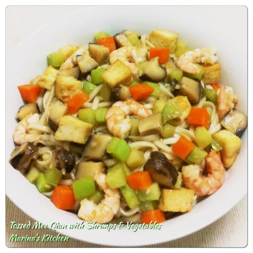 Tossed Mee Qian with Shrimps & Vegetables