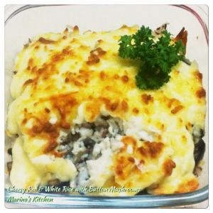 Cheesy Red & White Rice with Button Mushrooms