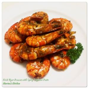 Fried Tiger Prawns with Spicy Soybean Paste