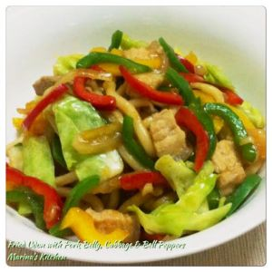 Fried Udon with Pork Belly, Cabbage & Bell Peppers