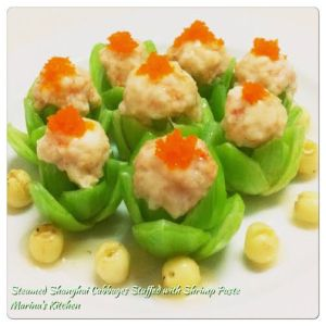Steamed Shanghai Cabbages Stuffed witgh Shrimp Paste