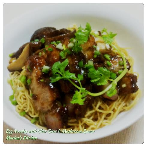 Egg Noodles with Char Siew & Mushroom Sauce