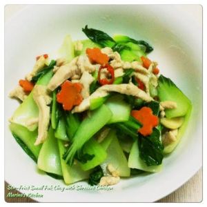Stir-Fried Small Pak Choy with Shredded Chicken