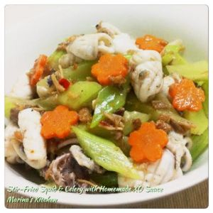 Stir-Fried Squid & Celery with Homemade XO Sauce
