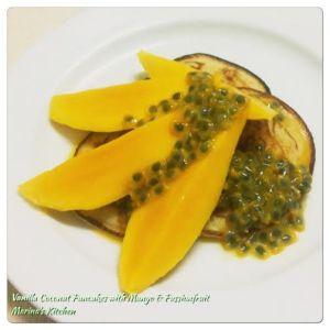 Vanilla Coconut Pancakes with Mango & Passionfruit