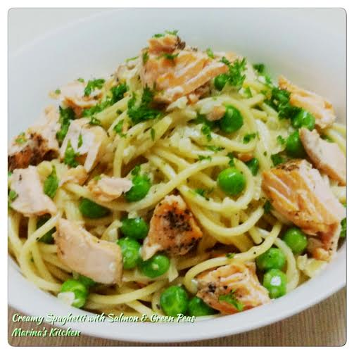 Creamy Spaghetti with Salmon & Green Peas