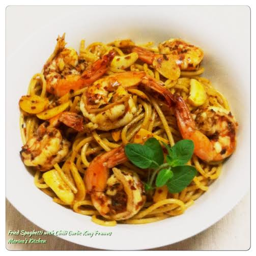 Fried Spaghetti with Chilli Garlic King Prawns