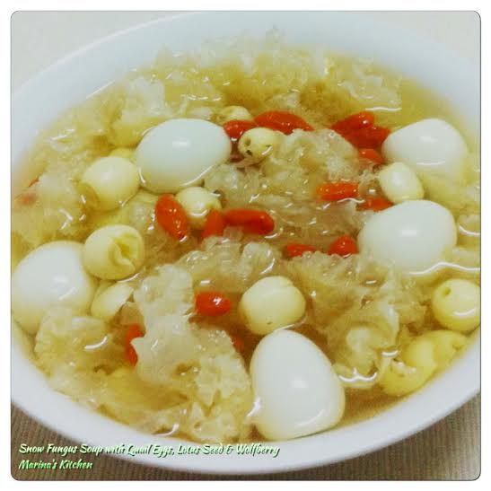 Snow Fungus Soup with Quail Eggs, Lotus Seed & Wolfberry
