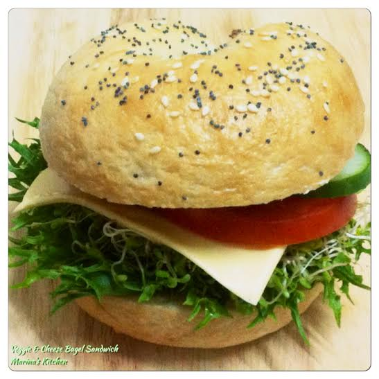 Veggie & Cheese Bagel Sandwich | Marina's Kitchen