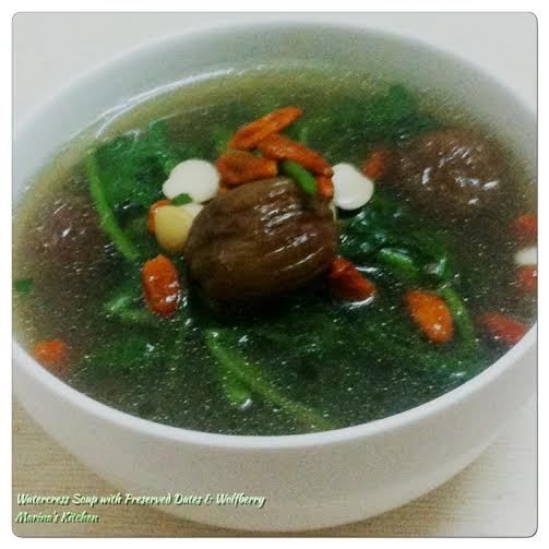 Watercress Soup with Preserved Dates & Wolfberry