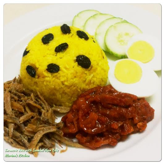 Turmeric Rice with Sambal Ikan Bilis