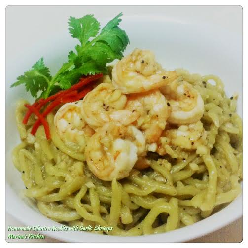 Homemade Cilantro Noodles with Garlic Shrimps