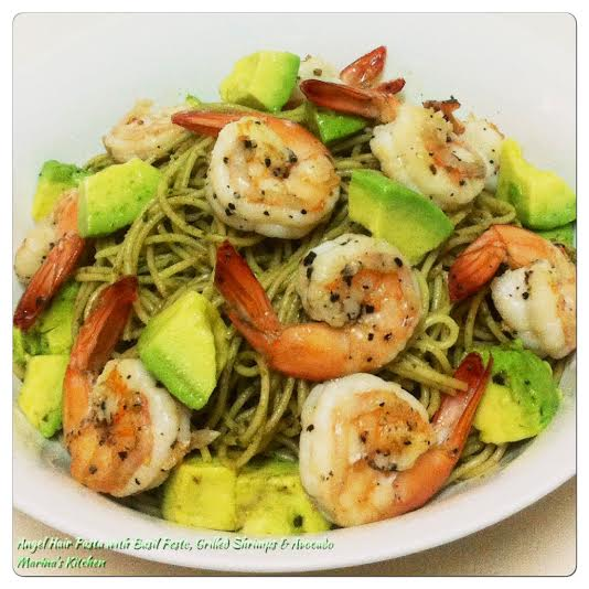 Angel Hair Pasta with Basil Pesto, Grilled Shrimps & Avocado