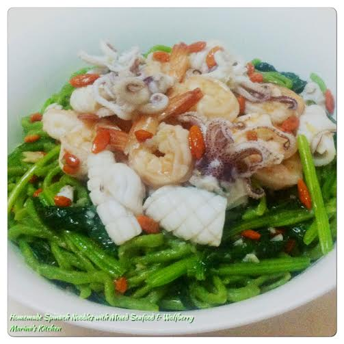 Homemade Spinach Noodles with Mixed Seafood & Wolfberry