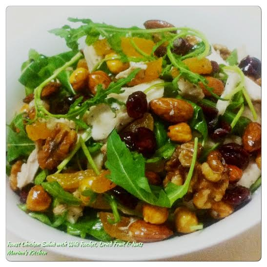 Roast Chicken Salad with Wild Rocket, Dried Fruit & Nuts