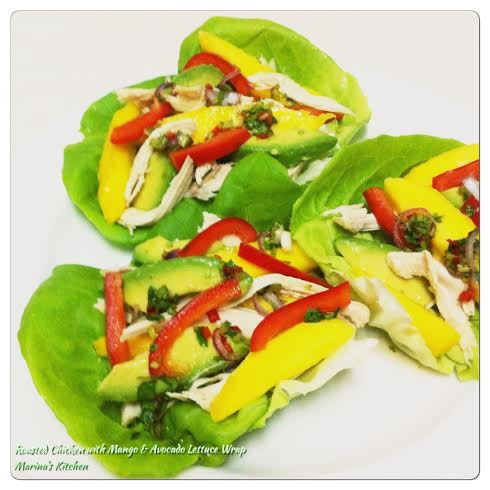 Roasted Chicken with Mango & Avocado Lettuce Wrap