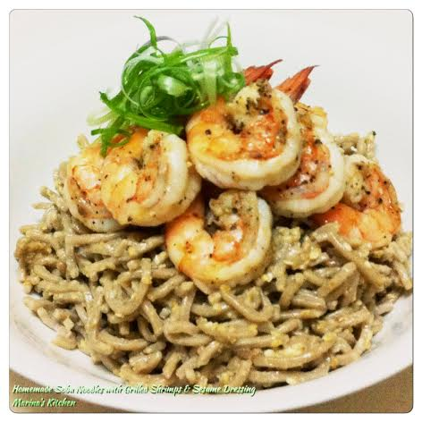 Homemade Soba Noodles with Grilled Shrimps & Sesame Dressing