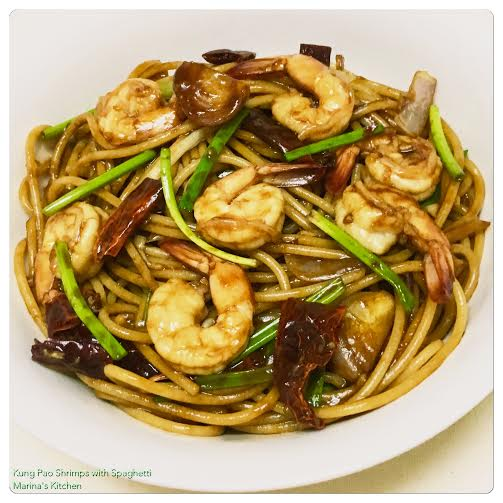 Kung Pao Shrimps with Spaghetti
