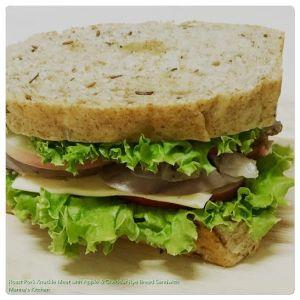 Roast Pork Knuckle Meat with Apple & Cheddar Rye Bread Sandwich