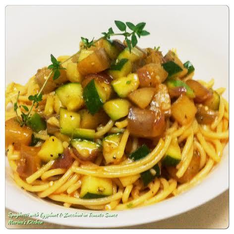 Spaghetti with Eggplant & Zucchini in Tomato Sauce