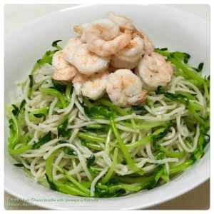 Tossed Hock Chew Noodle with Shrimps & Tau Miu
