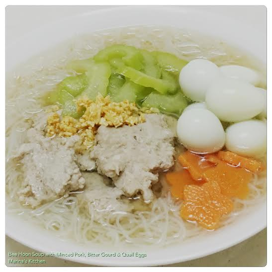 Bee Hoon Soup with Minced Pork, Bitter Gourd & Quail Eggs
