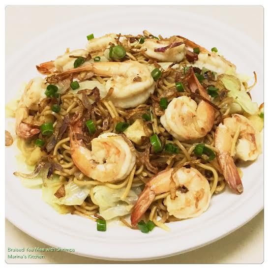 Braised Yee Mee with Shrimps