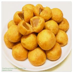 Fried Sweet Potato Balls with Nian Gao
