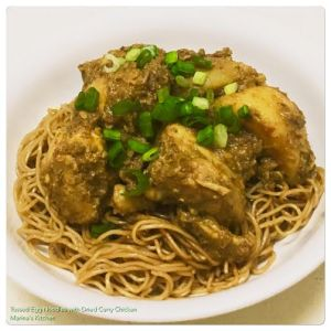 Tossed Egg Noodles with Dried Curry Chicken