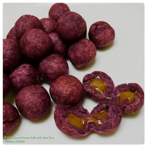 Purple Sweet Potato Balls with Nian Gao