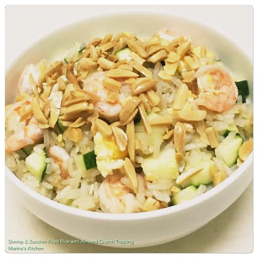 Shrimp & Zucchini Fried Rice with Almond Crunch Topping