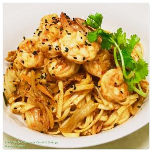 Stir-Fried Mee Qian with Kimchi & Shrimps
