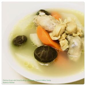 Chicken Soup with Dried Scallop, Mushroom, Carrot & White Turnip