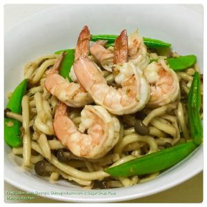 Fried Udon with Shrimps, Shimeji Mushroom & Sugar Snap Peas