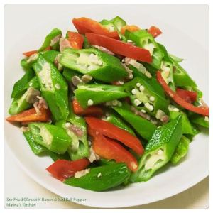 Stir-Fried Okra with Bacon & Red Bell Pepper