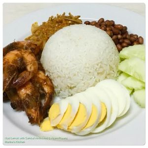 nasi-lemak-with-sambal-anchovies-asam-prawns