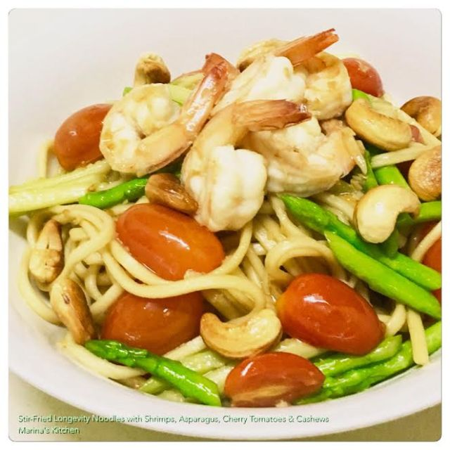 stir-fried-longevity-noodles-with-shrimps-asparagus-cherry-tomatoes-cashews