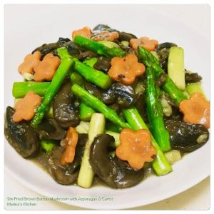 stir-fried-brown-button-mushroom-with-asparagus-carrot