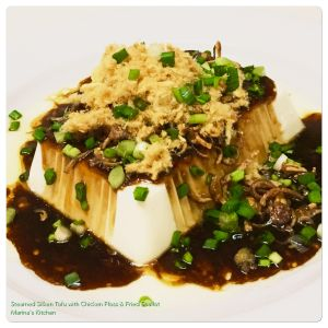 steamed-silken-tofu-with-chicken-floss-fried-shallot