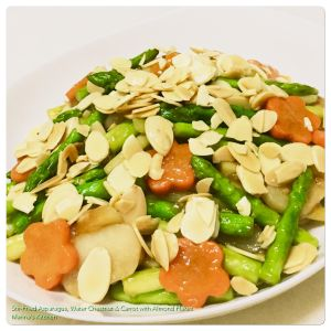 stir-fried-asparagus-water-chestnut-carrot-with-almond-flakes