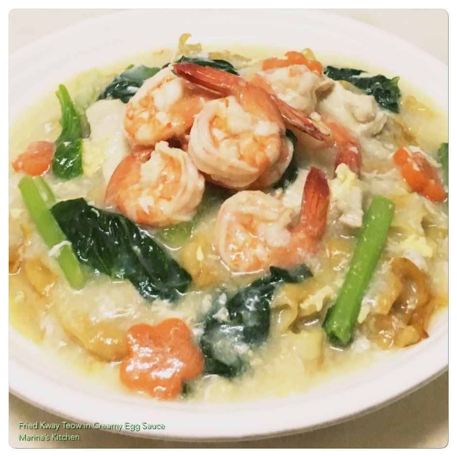 Fried Kway Teow in Creamy Egg Sauce